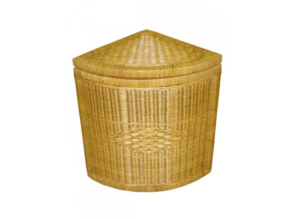 Ratanový koš na prádlo rohový  60x42x60 cm Světlý med