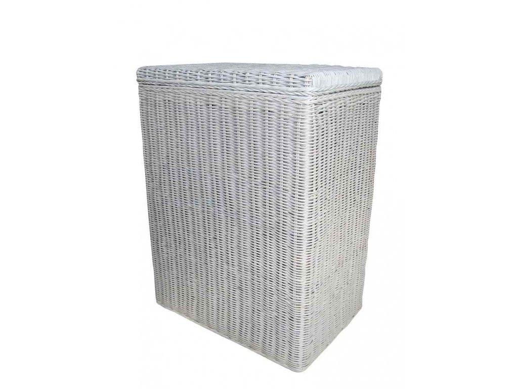 Koš na prádlo ratanový  obdélník 47x32x62 cm bílý