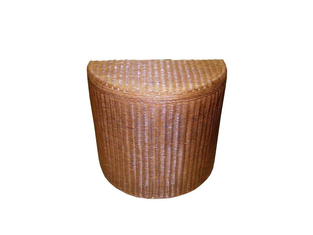 Koš na prádlo ratanový  půlkulatý 67x34x60 cm Hnědý