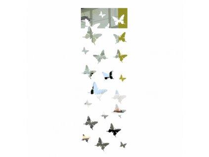 Samolepící zrcadlová dekorace Motýlci Stříbrná