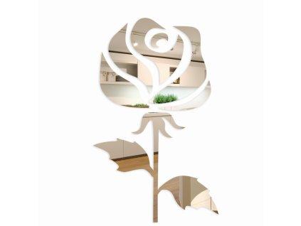 Samolepící zrcadlová dekorace Růže 2- 150cm Stříbrná