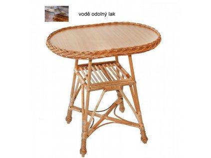Proutěný stolek OVÁL 60x40x40 Přírodní - lakovaný