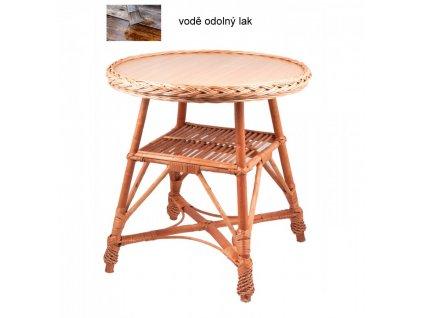 Proutěný stůl KULATÝ 60x60x63 cm Přírodní - lakovaný