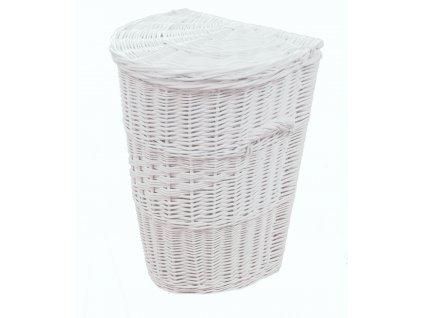 Proutěný koš na prádlo Půlkulatý 50x45x62 cm Bílý