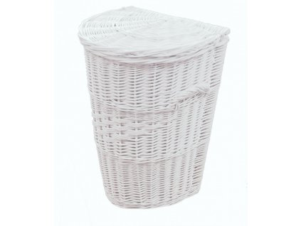 Proutěný koš na prádlo Půlkulatý 45x37x55 cm Bílý
