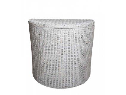 Ratanový koš na prádlo půlkulatý 67x34x60 cm Bílý