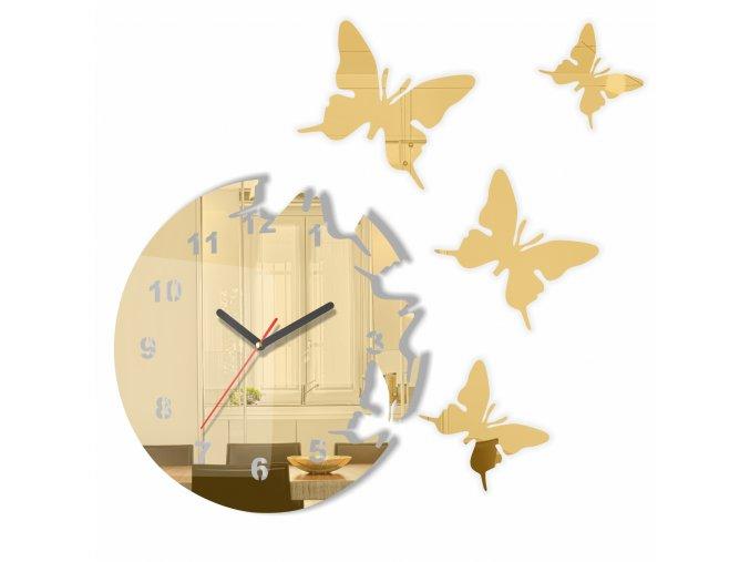 Nástěnné hodiny motýlci Zlaté/Zrcadlové