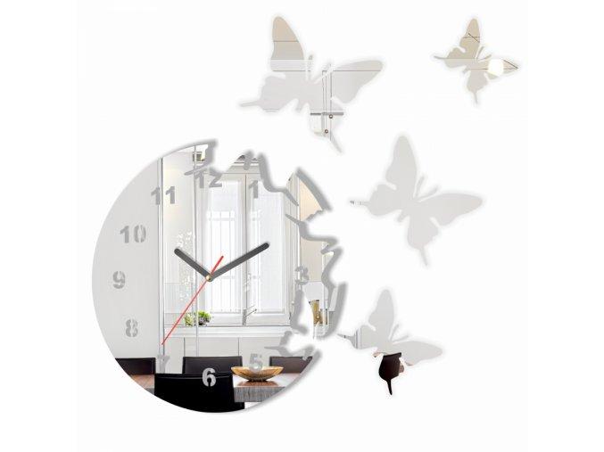 Nástěnné hodiny motýlci Stříbrné/Zrcadlové