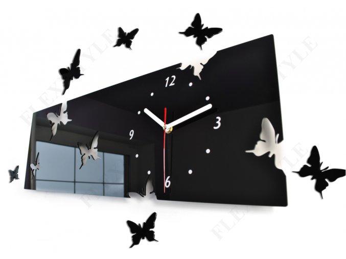Designové hodiny obdélník Motýlci Černé