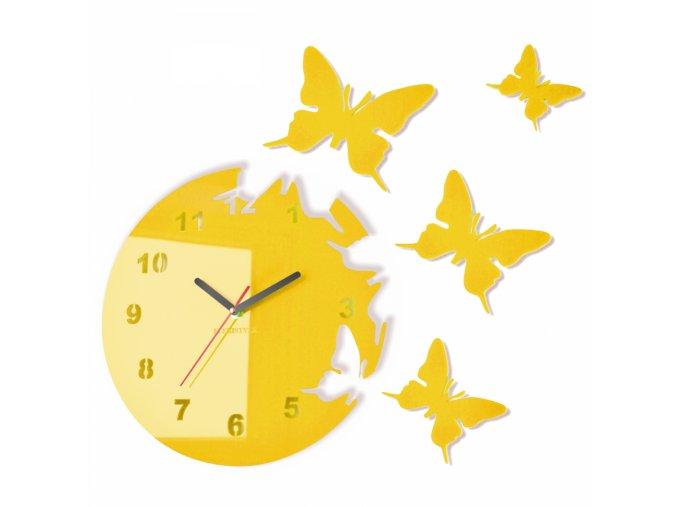 Nástěnné hodiny motýlci Žlutá slunečnice