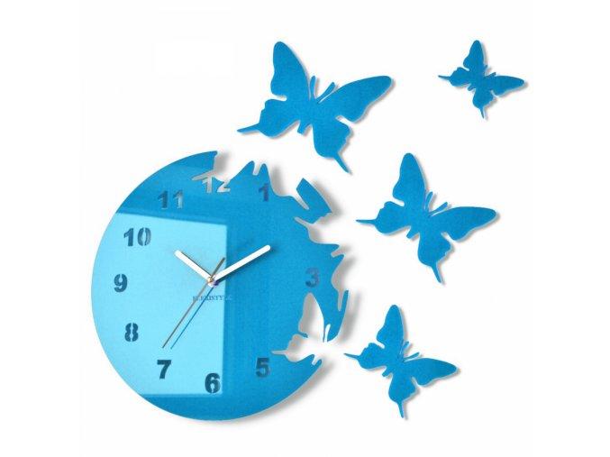 Nástěnné hodiny motýlci Světle modré