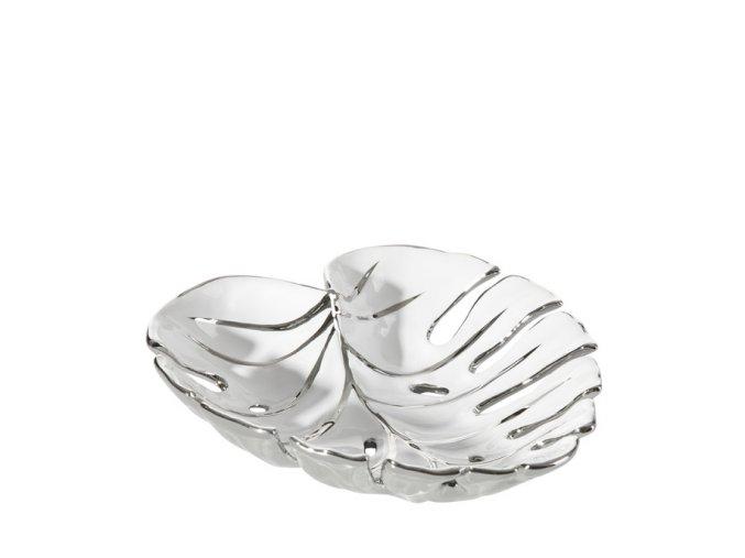 Keramická mísa OLIVIA bílo/stříbrná 02- 24x24x5cm