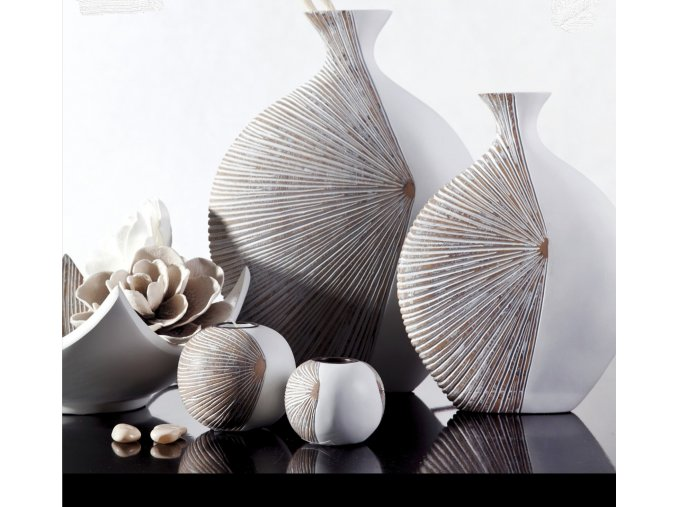 Váza DAVID 01 Bílo béžová 44 cm