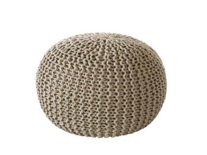 Puf pletený taburet Jona béžový 40x40x25