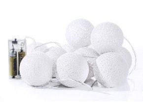 Světelný řetěz COTTON BALL 10 bílý- na baterie