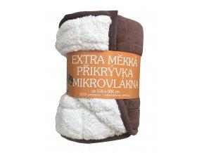 Deka mikrovlákno Deka Ovečka tmavě hnědá/bílá 150x200