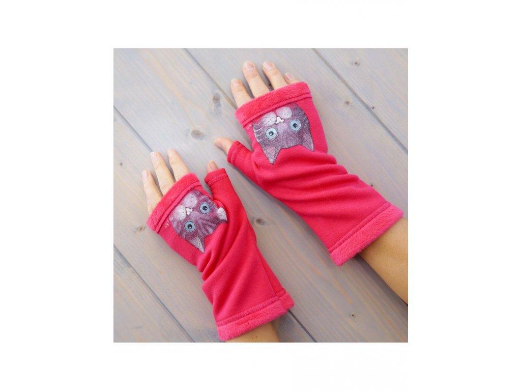 Teplé rukavice - návleky  - Kočky v růžovém