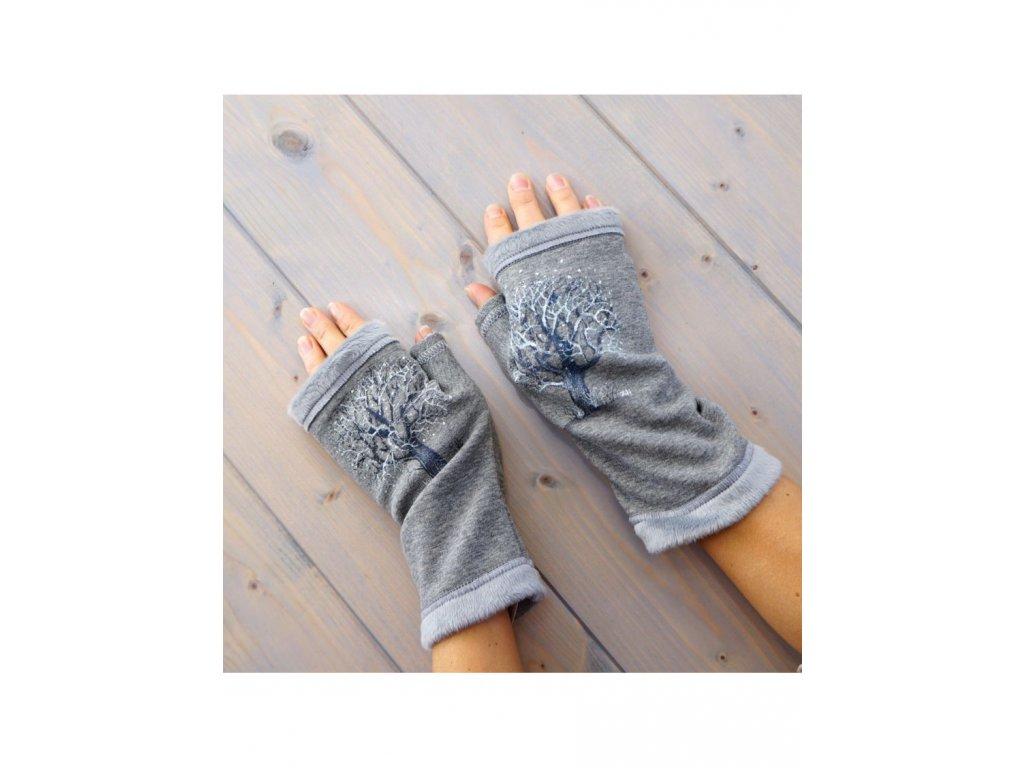 Teplé rukavice - návleky  - Stříbrný strom