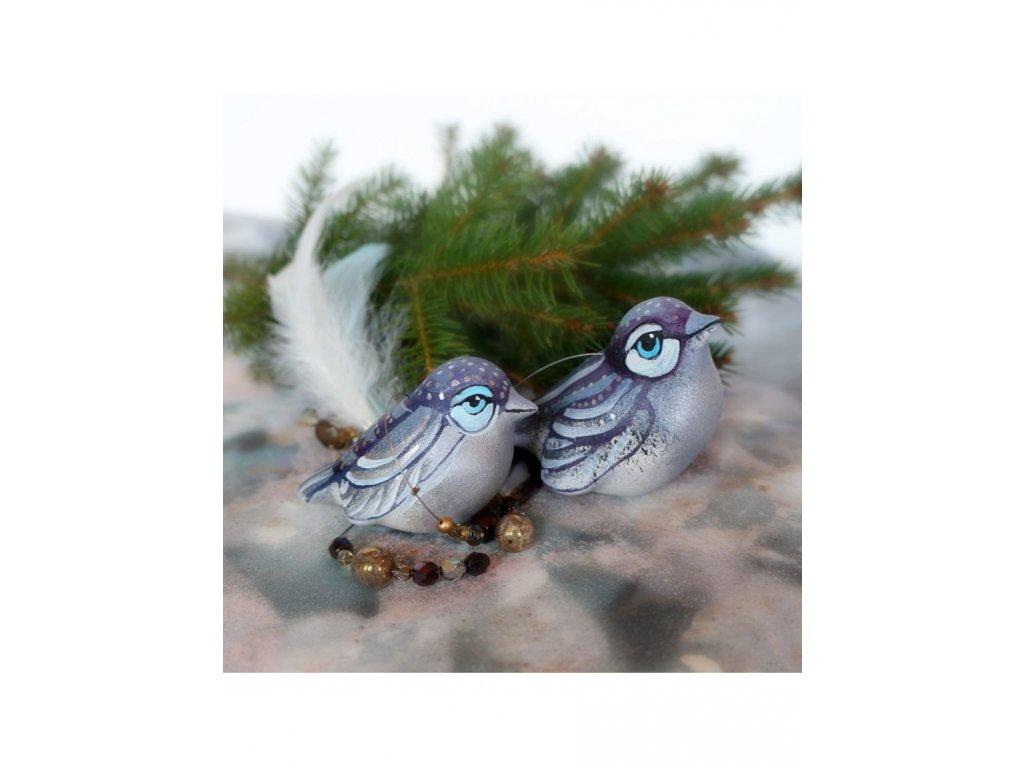 Dva ptáčci fialovo stříbrní
