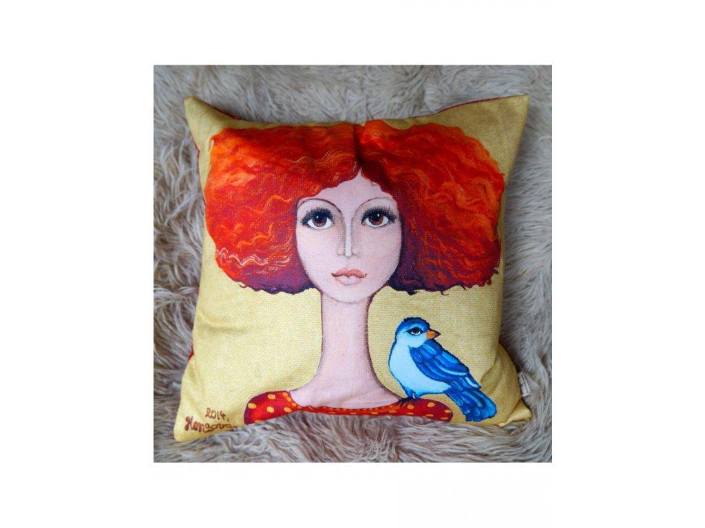 Dáma s ptáčkem - polštář bavlna