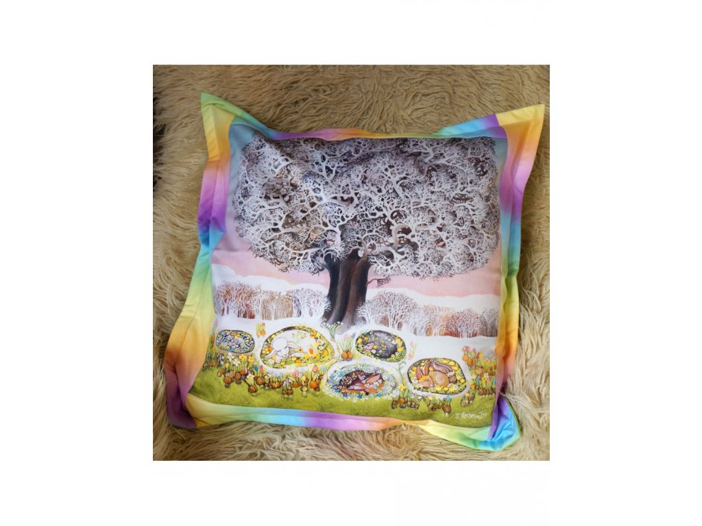 Čekání na jaro - polštář 50 x 50 cm bavlna