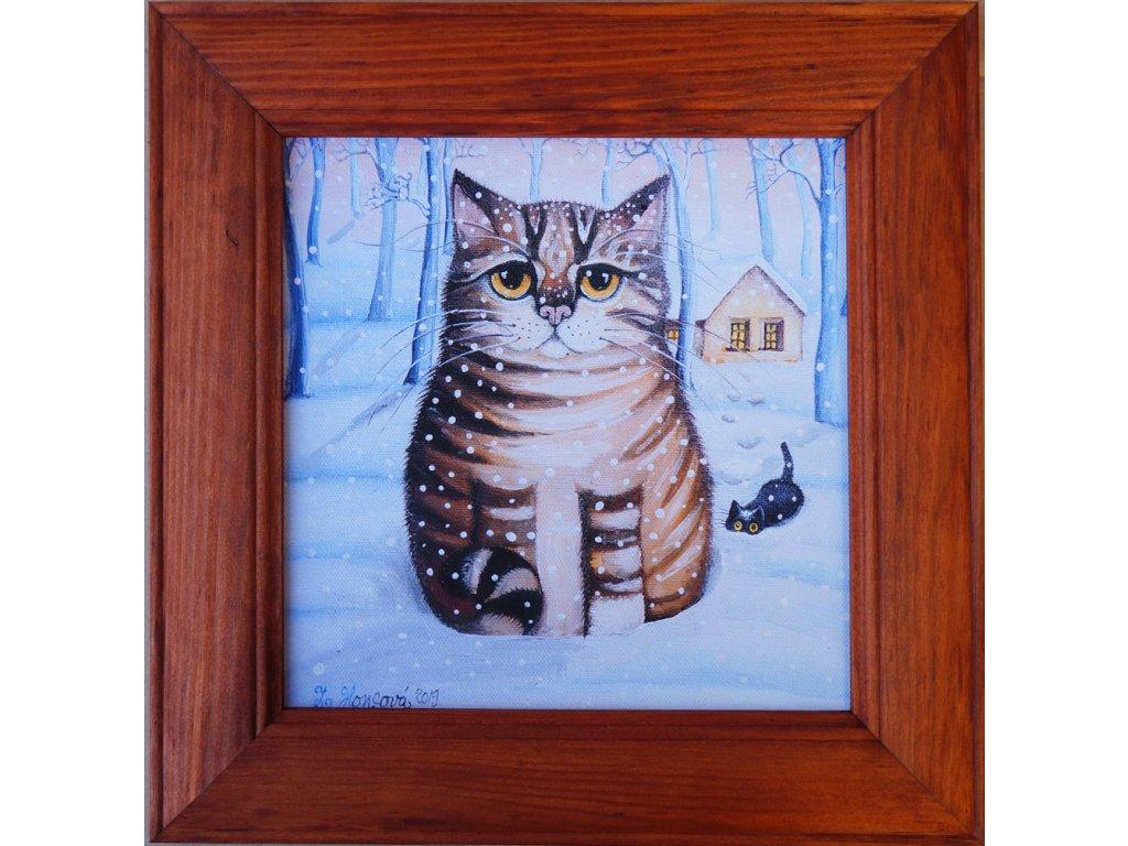Kocour a kotě v zimě