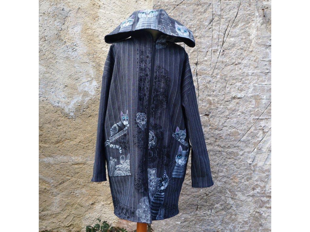 Lehký originální kabát nebo bunda s kočkama