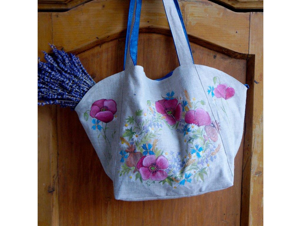 Velká prostorná lněná taška malovaná s kytkami 2