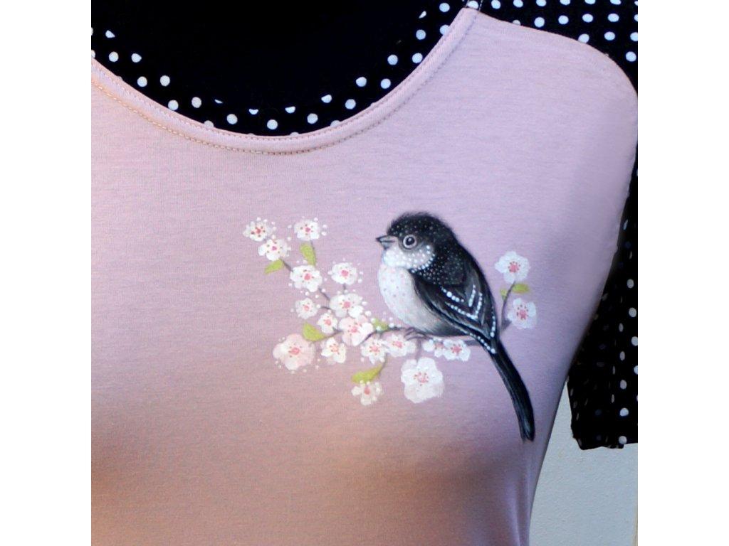 Triko originál malované s ptáčkem a větvičkou a puntíky (36)