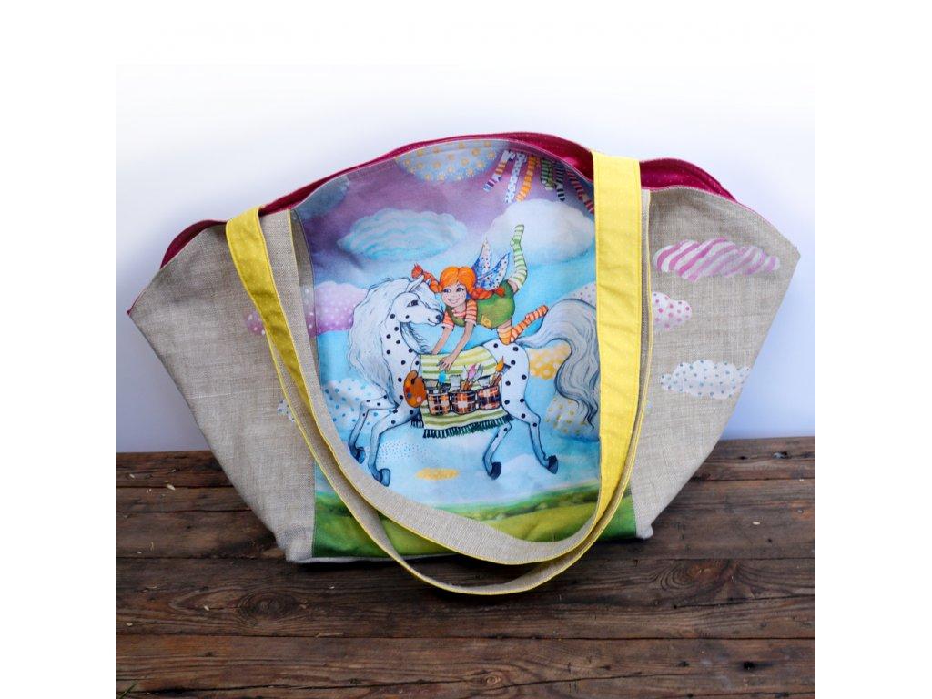 Velká prostorná lněná taška - Být jako Pipi