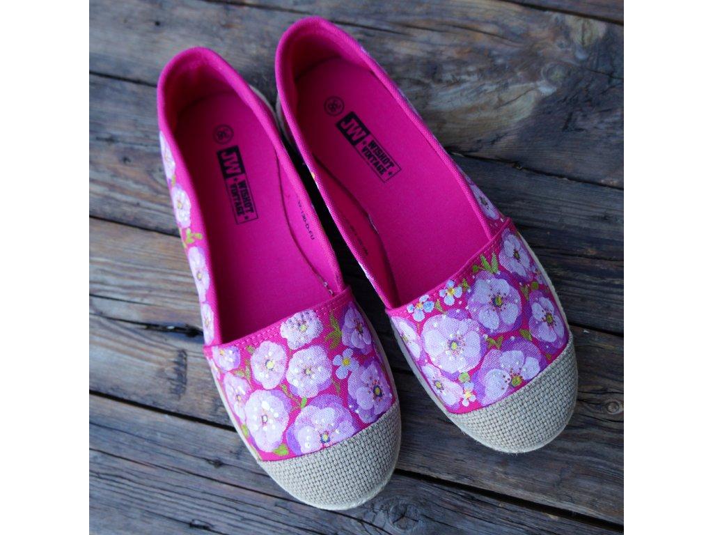 Růžové espadrilky kvetoucí 38