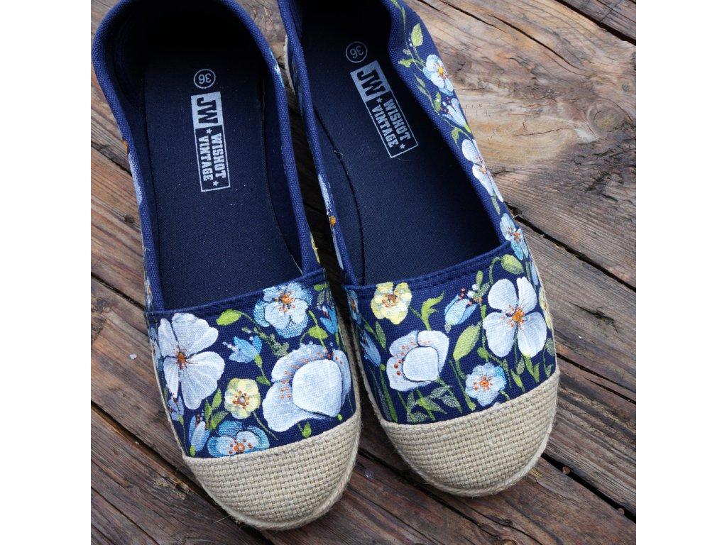 Modré espadrilky kvetoucí 36