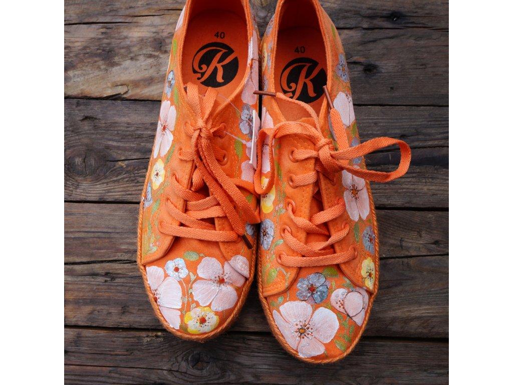 Oranžové espadrilky malované 40