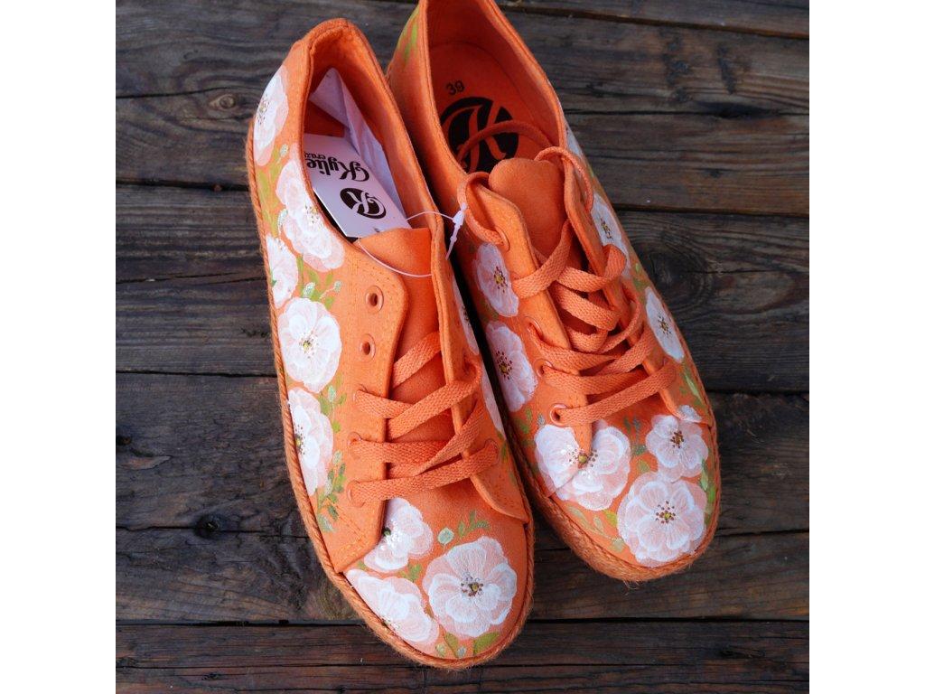 Oranžové espadrilky malované 38