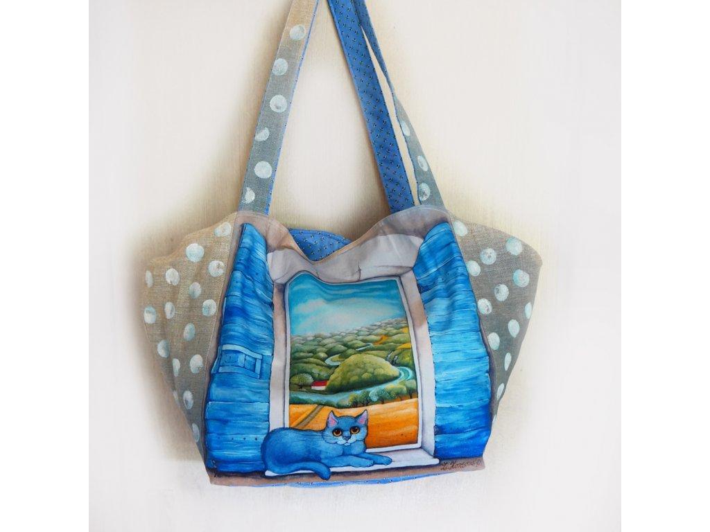 Velká prostorná lněná taška - Krajina mého srdce