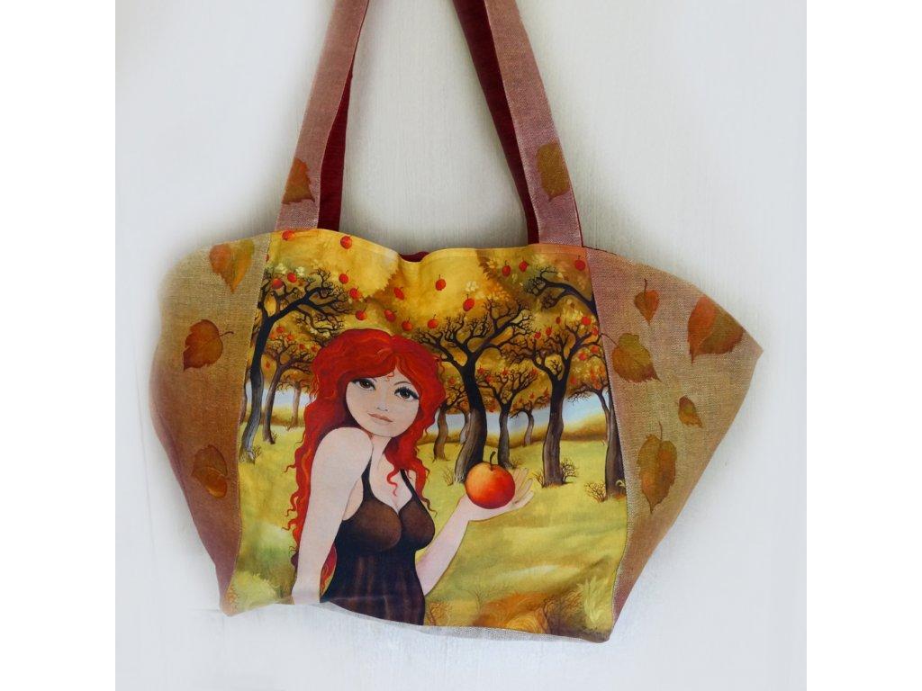 Velká prostorná lněná taška - Zrzka