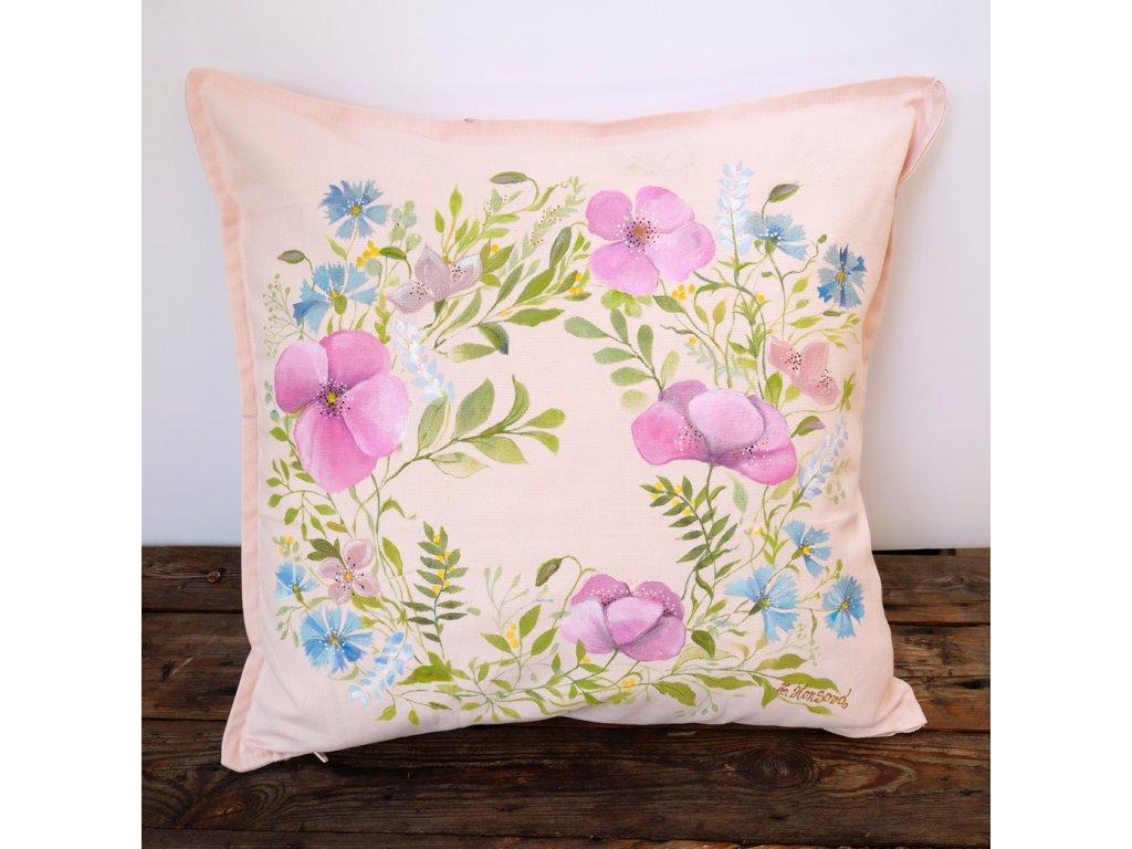 Malovaný originální polštář - s květinami