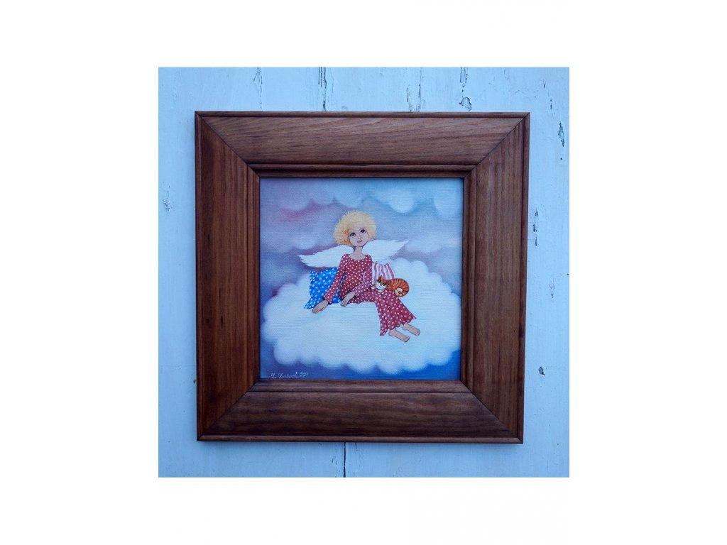 Andělíček sedící na obláčku