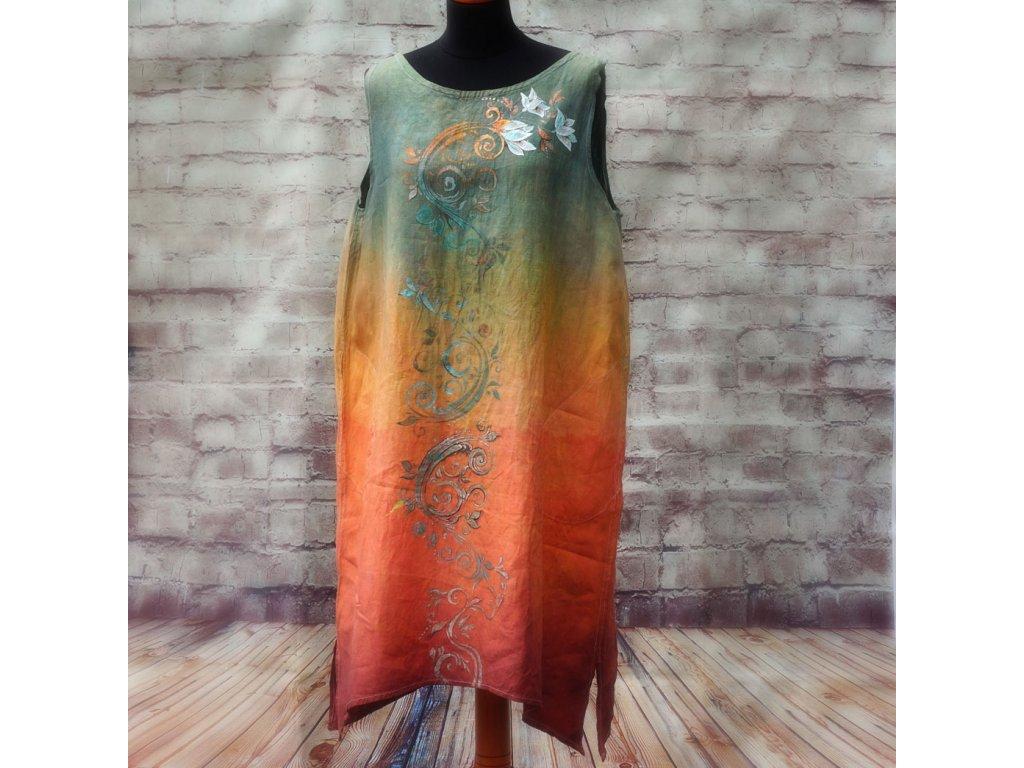 Len - kratší šaty barvené a malované - velikost 44