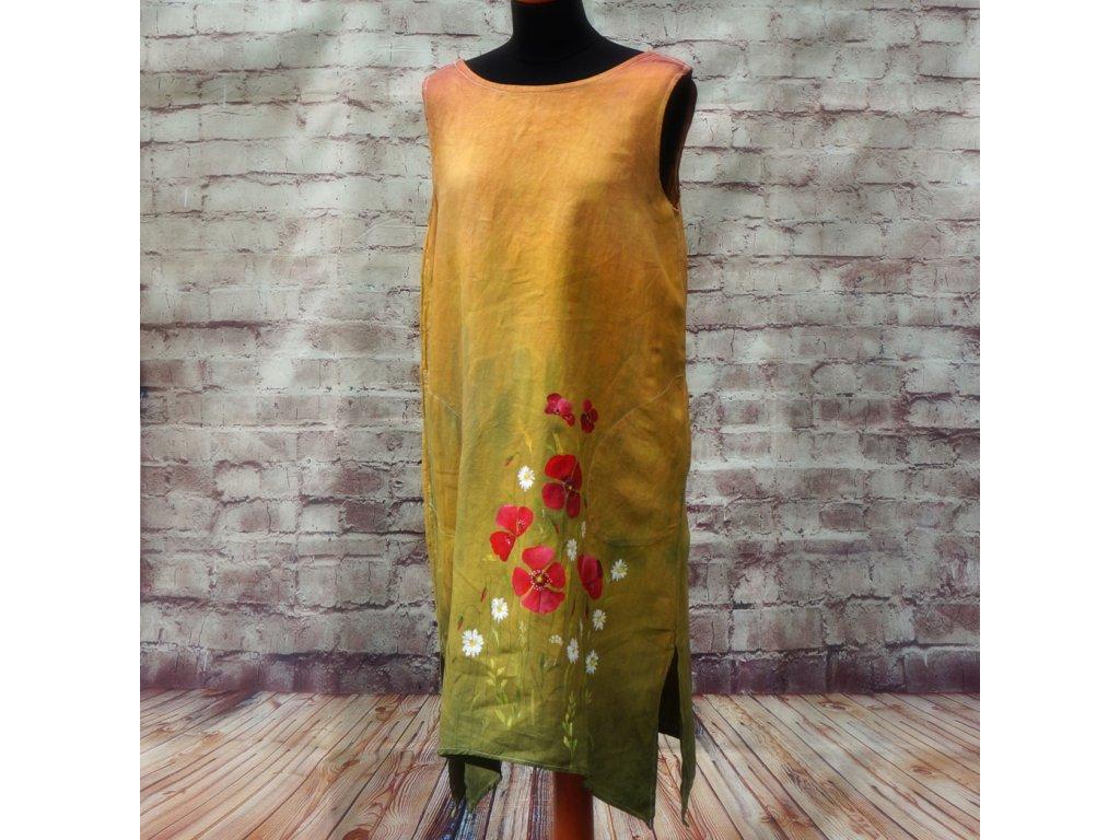 Len -  kratší šaty barvené a malované 38