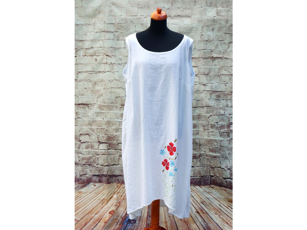 Lněné šaty originál malované 54