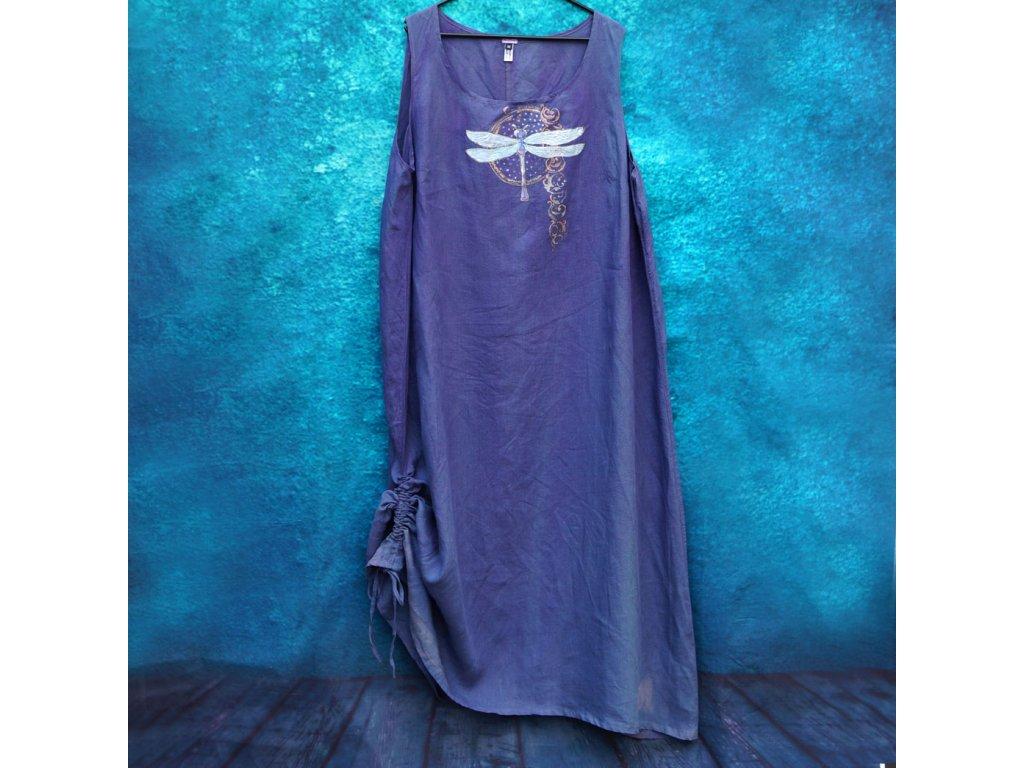 Lněné šaty dlouhé - originál  barvené a malované 52