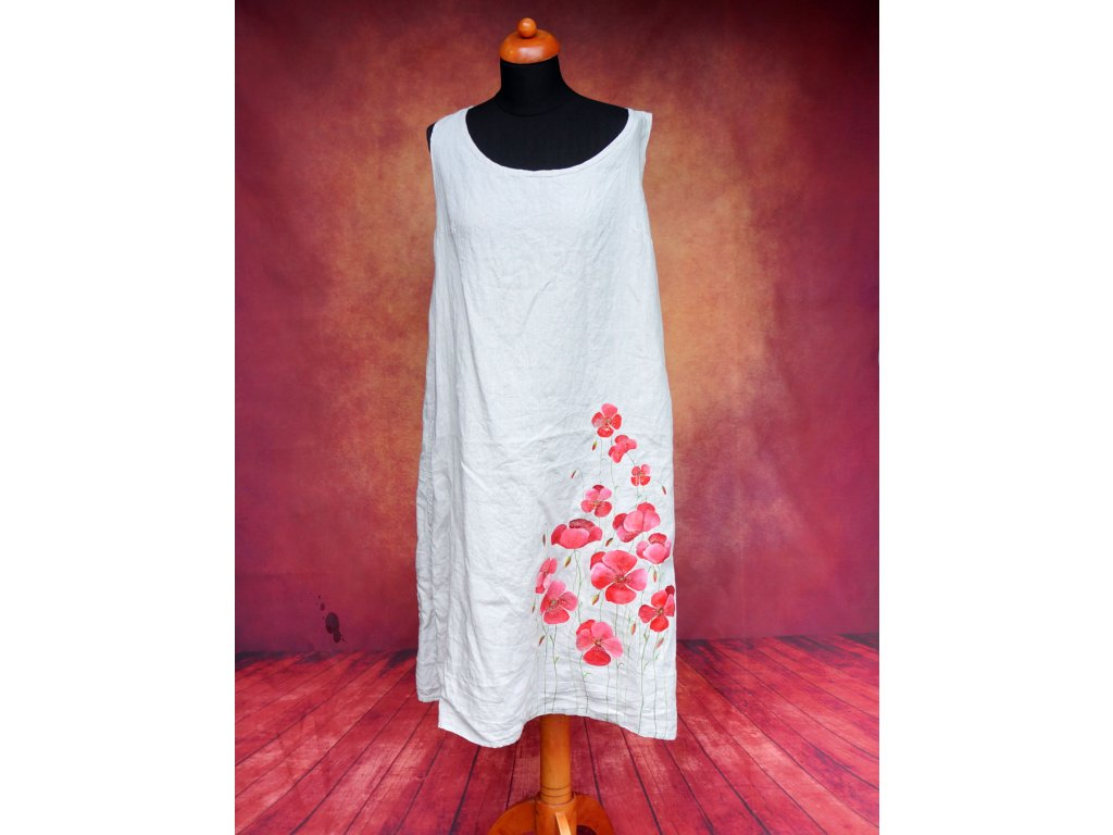 Lněné šaty dlouhé - originál malované 42
