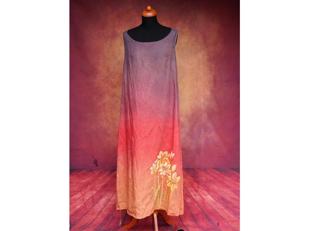 Lněné šaty dlouhé - originál  barvené a malované 44