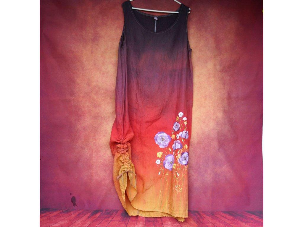 Lněné šaty dlouhé - originál  barvené a malované 48