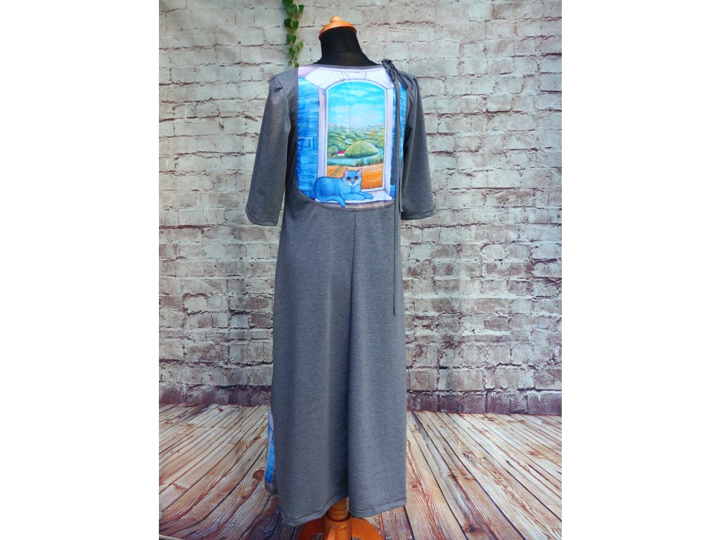 Dlouhé šaty s obrázkem na zádech - Krajina mých snů 38