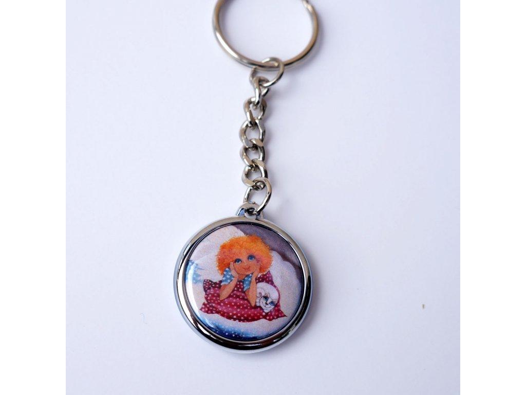 Přívěsek na klíče- Andělíček na obláčku