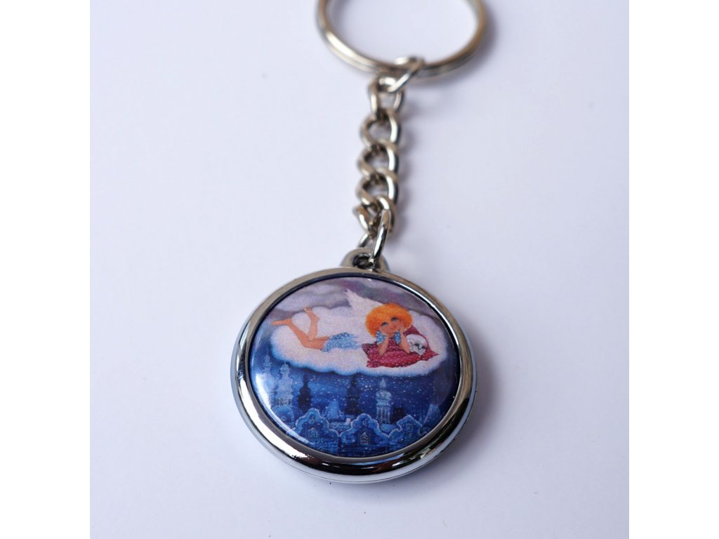 Přívěsek na klíče- Andělíček ležící na obláčku