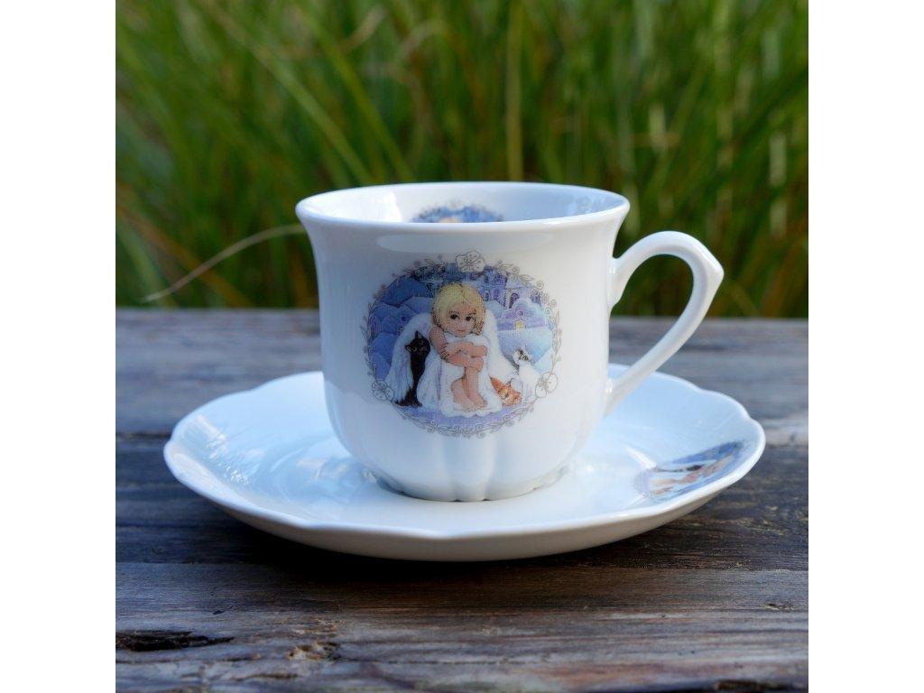 """Na kávu """"rosa""""- Andělka a kočičky"""