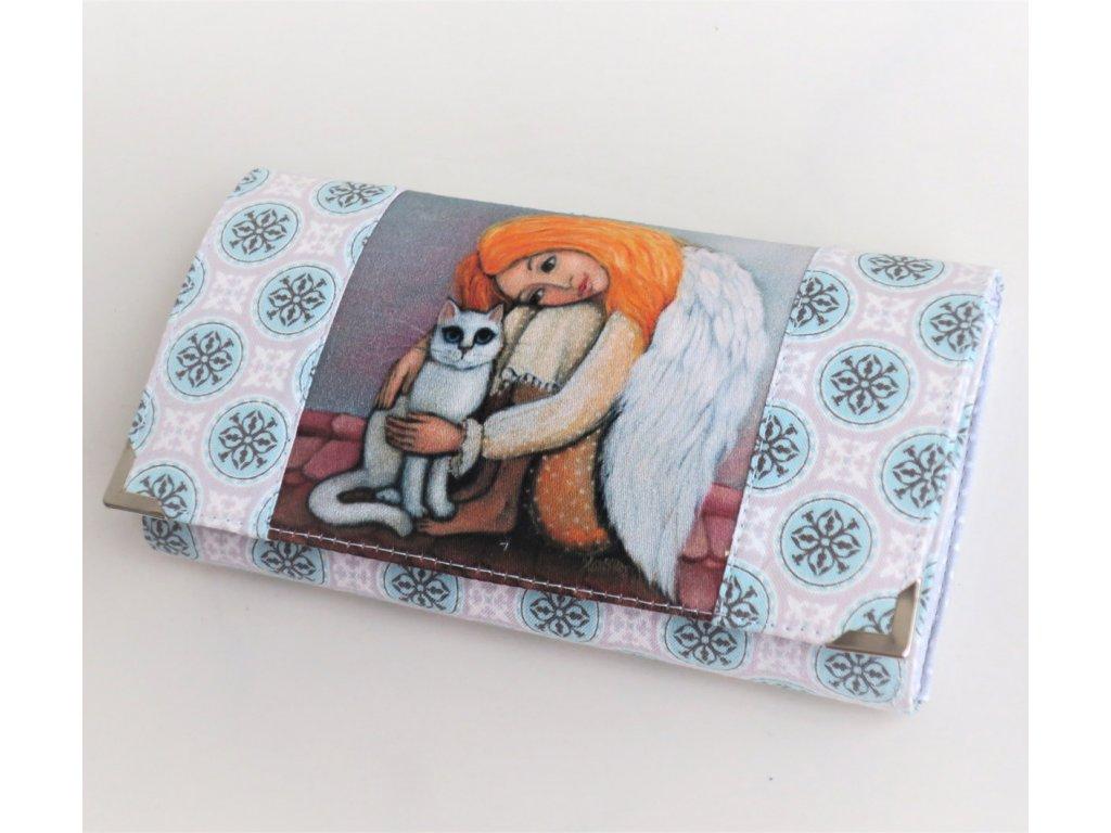 Andělka s bílou kočičkou - peněženka 17 cm i na karty